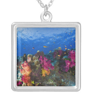 Soft corals on shallow reef, Fiji Silver Plated Necklace