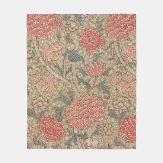 Soft, cosy 19thc  peony patterned fleece blanket
