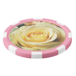 Soft Cream Rose Set Of Poker Chips