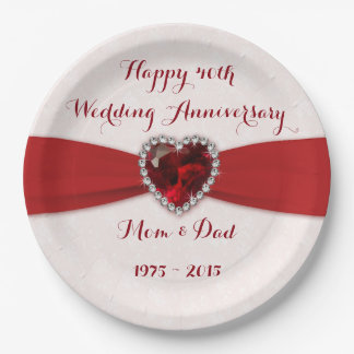 Soft Damask 40th Wedding Anniversary Paper Plate