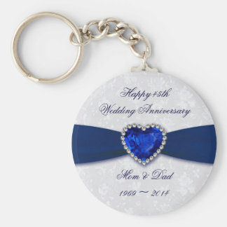 Soft Damask 45th Wedding Anniversary Key Chain