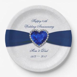Soft Damask 45th Wedding Anniversary Paper Plates