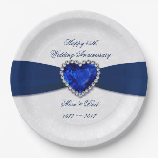 Soft Damask 45th Wedding Anniversary Paper Plates 9 Inch Paper Plate