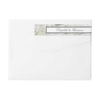 Soft Edged White Wood Wedding Wrap Around Label