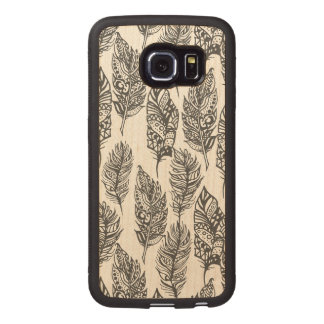 Soft Feathers Doodle Wood Phone Case