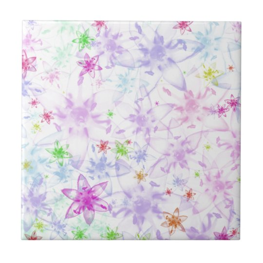 Soft Floral Small Square Tile
