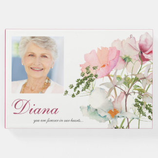 Soft Florals Funeral Memorial Guest Book