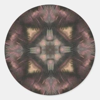 Soft Fluffy Mauve Teal Feather Mandala Round Sticker