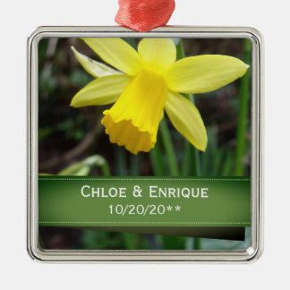 Soft Focus Daffodil Personalized Wedding Christmas Ornament