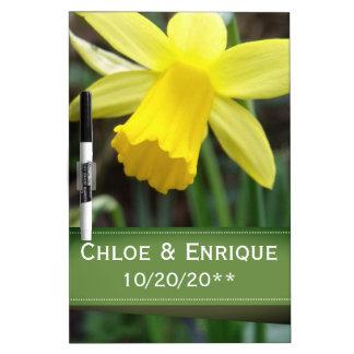 Soft Focus Daffodil Personalized Wedding Dry Erase Board
