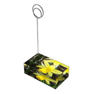 Soft Focus Daffodil Personalized Wedding Place Card Holder