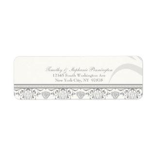 Soft gray chic damask personalized address label
