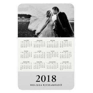 Soft Gray Stripe | Elegant 2018 Photo Calendar Magnet