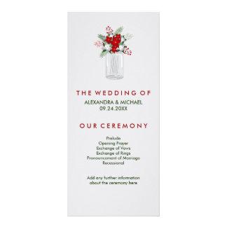 Soft Gray Winter Holiday Mason Jar Wedding Program Rack Card