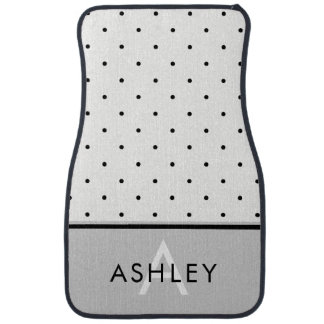 Soft Gray with Black and White Polka Dots Car Mat