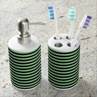 Soft Green and Black Stripes Bathroom Set