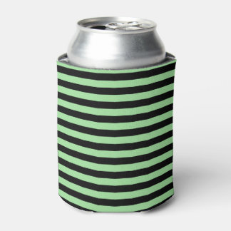 Soft Green and Black Stripes Can Cooler