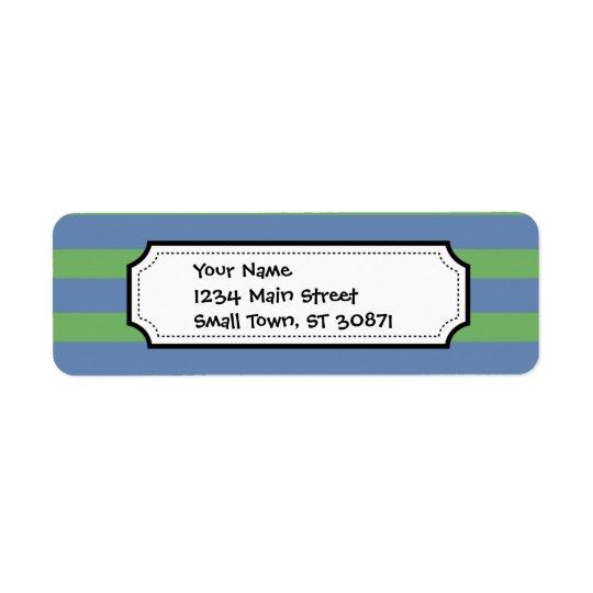 Soft Green and Blue Purple Striped Pattern Return Address Label