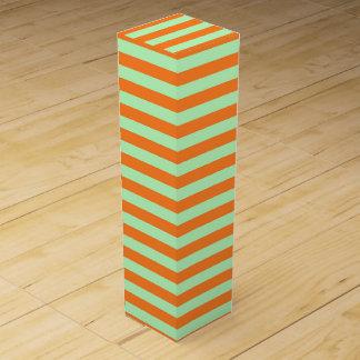 Soft Green and Orange Stripes Wine Gift Box