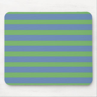 Soft Green and Periwinkle Striped Pattern Mouse Pad