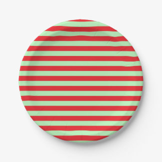 Soft Green and Red Stripes Paper Plate
