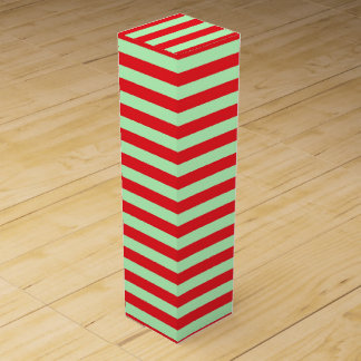 Soft Green and Red Stripes Wine Box