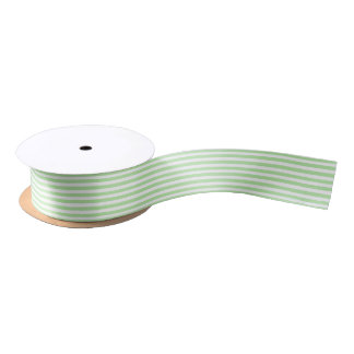 Soft Green and White Stripes Ribbon Satin Ribbon