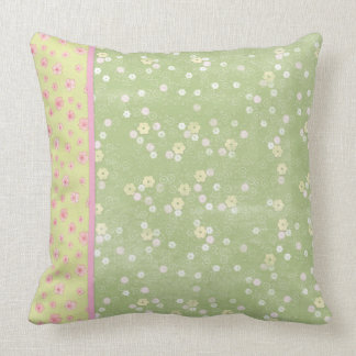 Soft Green and Yellow Flowers Throw Pillow