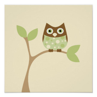 Soft Green Baby Owl Posters