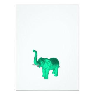 Soft Green Elephant 14 Cm X 19 Cm Invitation Card