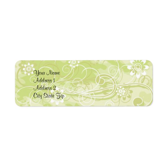 Soft Green Floral and Swirl Pattern Address Lables
