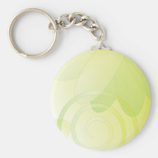 Soft green floral design basic round button key ring