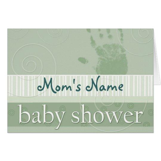 Soft green pastel baby shower invitation