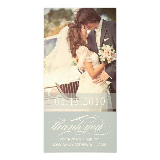 SOFT GREEN SCRIPT THANKS | WEDDING THANK YOU CARD CUSTOM PHOTO CARD