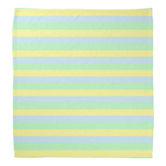Soft Green, Yellow and Blue Stripes Bandana