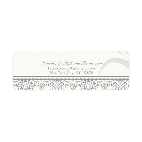 Soft grey chic damask personalised address label