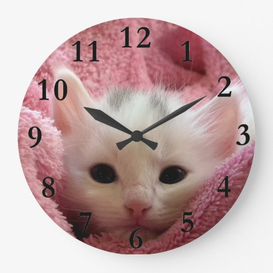 Soft kitten stay at warm large clock