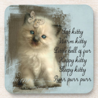 Soft kitty, ragdoll kitten coasters