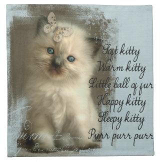 Soft kitty, ragdoll kitten napkins