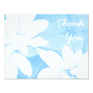 """Soft Leaves Blue 'Thank You' note white 4.25"""" X 5.5"""" Invitation Card"""
