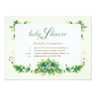 Soft Leaves Girl Baby Shower Invitation