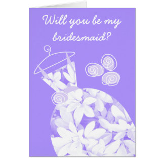 Soft Leaves Purple 'Bridesmaid' card front text