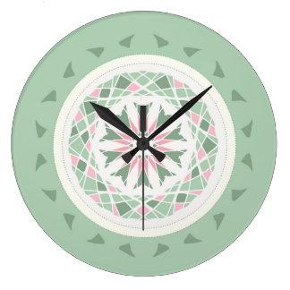 Soft mint green and pink mandala clocks