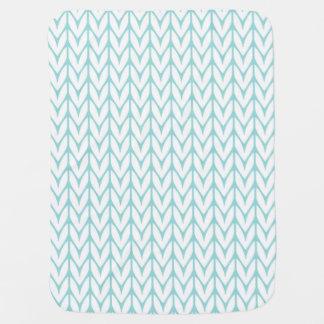 Soft Mint Yarn Chevrons Knit Pattern Customizable Baby Blanket