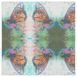 Soft Mirrored Monarch on Thistle Fabric