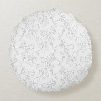 Soft Modern White&Grey Damask Round Cushion