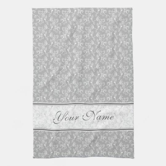 Soft Modern White&Grey Named Damask Tea Towel