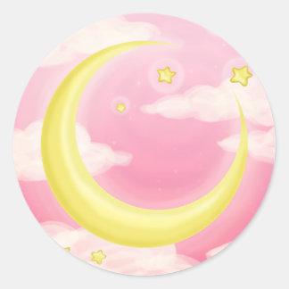 Soft Moon on Pink Round Sticker