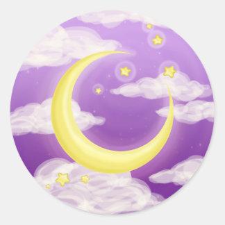 Soft Moon on Purple Classic Round Sticker