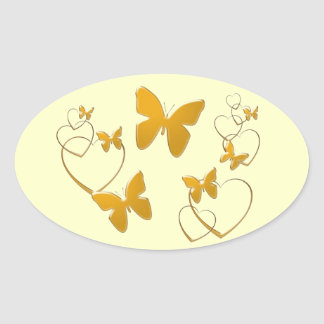Soft orange butterflies and hearts oval sticker